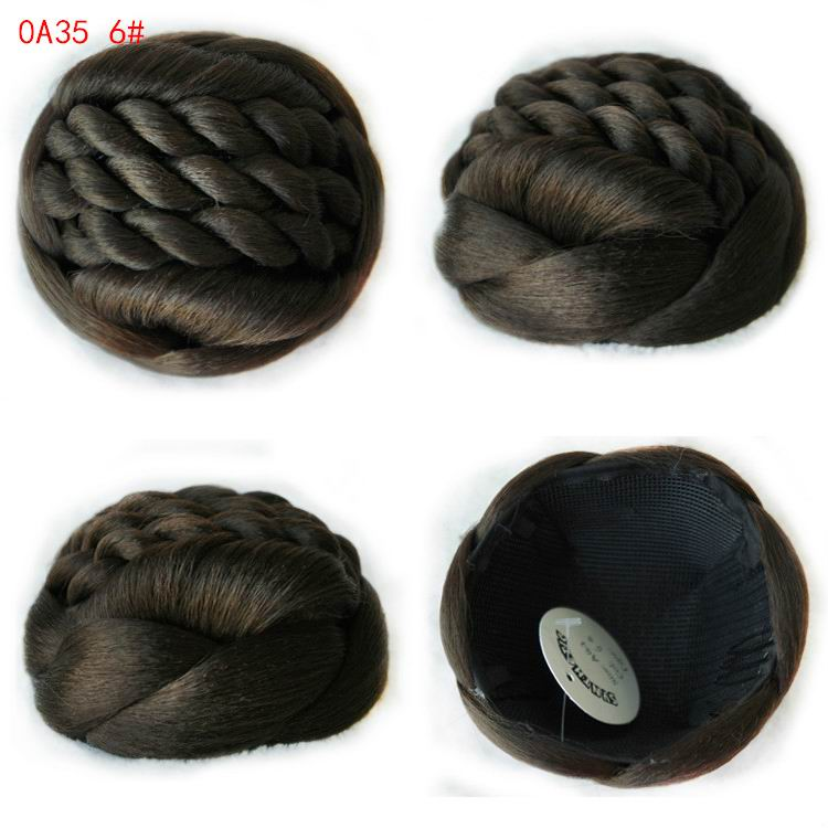 Fashion Womens Chignons Synthetic Bun Hairpiece Heat Resistant Knot Bob Lady Heat resistant Chignons Buns Hairpieces A35