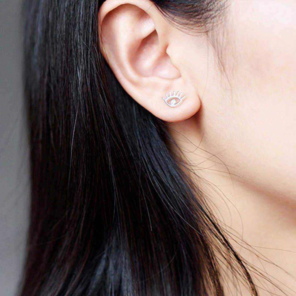 Миниатюрные серьги-гвоздики из нержавеющей стали в виде милых глаз для женщин и девушек, модные золотые серебряные металлические серьги-гвоздики 2019, новинка