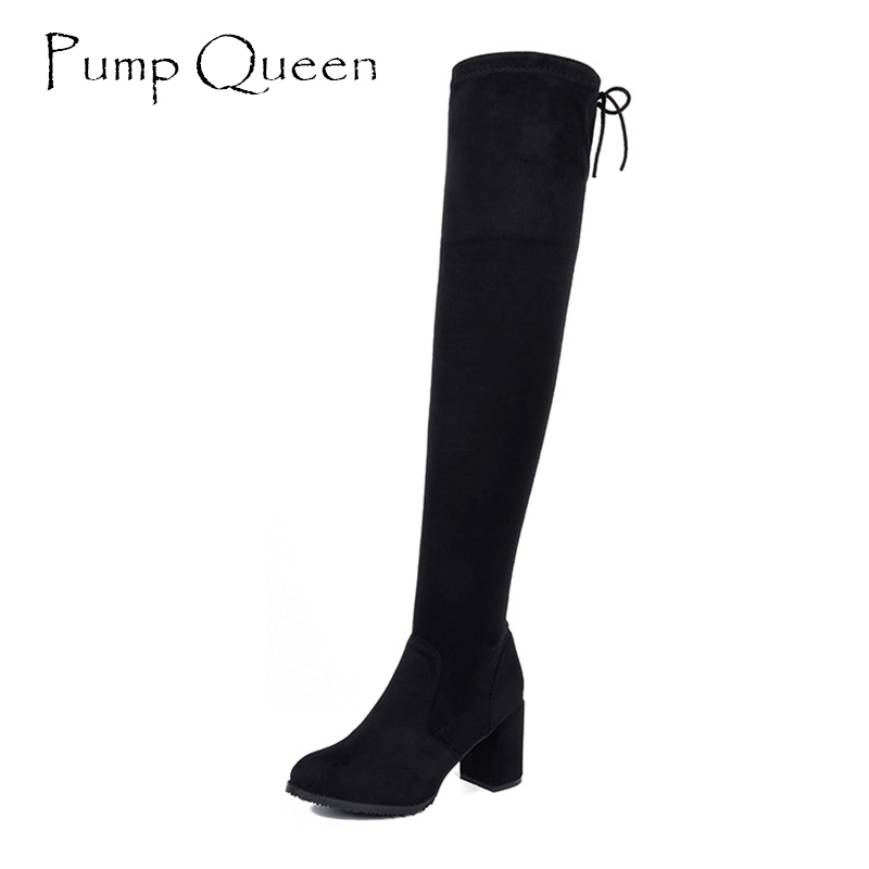 Woman Shoes 2017 Winter Over-The-Knee Slip-On Round Toe High Boots Butterfly-Knot Short Plush Square Heel Microfiber Size 34-40 цены онлайн