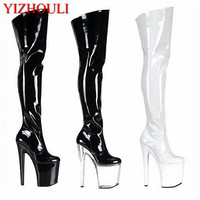 20cm Ultra High Heels Boots Barreled Platform Japanned Leather 6 Inch Performance Shoes Plus Size Thigh High Dance Shoes