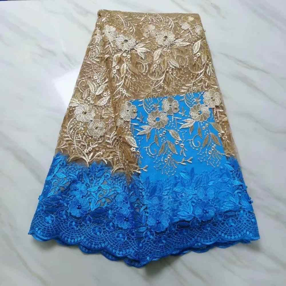 Mor Son Nijeryalı Danteller Kumaşlar Yüksek Kalite Afrika Danteller Kumaş Için düğün elbisesi Fransız Tül Dantel Ile Boncuk Kraliyet Mavi