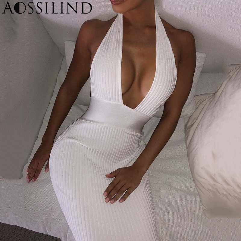 54f090ff96 AOSSILIND White Halter Backless Sexy Knitted Pencil Long Dress Women Off  Shoulder Bodycon Party Dress Elegant