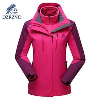 DZRZVD Outdoor Sports Winter Waterproof Ski Hiking Jacket Women Two Piece Fleece Warm Windproof Hooded windbreaker Coats