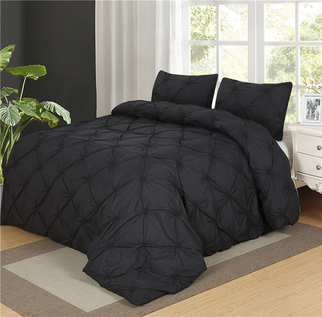 Luxurious Duvet Cover Set Black Pinch Pleat 2 3pcs Twin Queen King Size