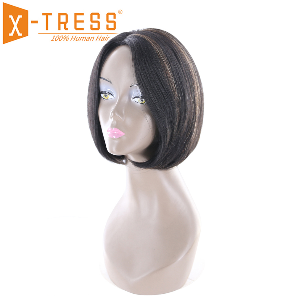 Ombre Brown Color Short Bob Human Hair Wigs Side Part X-TRESS Brazilian Straight Africa American Non-Remy Hair Wig For Women