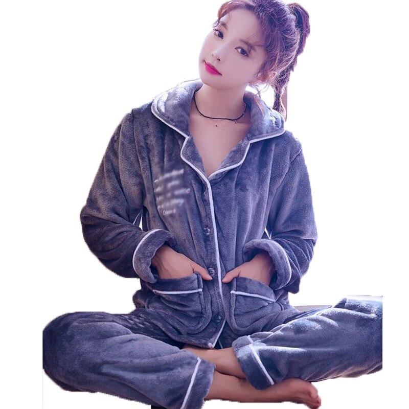 Sleepwear Set Winter Women Pyjamas Long Sleeve Coral Fleece Pajamas Sets Student Tracksuit Tops Female Pyjama Suit NightSuit