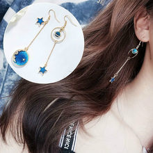 1 Pair Sell Fashion Drop Earrings Lovely Simple Blue / The Moon / Starry Sky / Long Section Asymmetric Pendant For Ladies Gift(China)