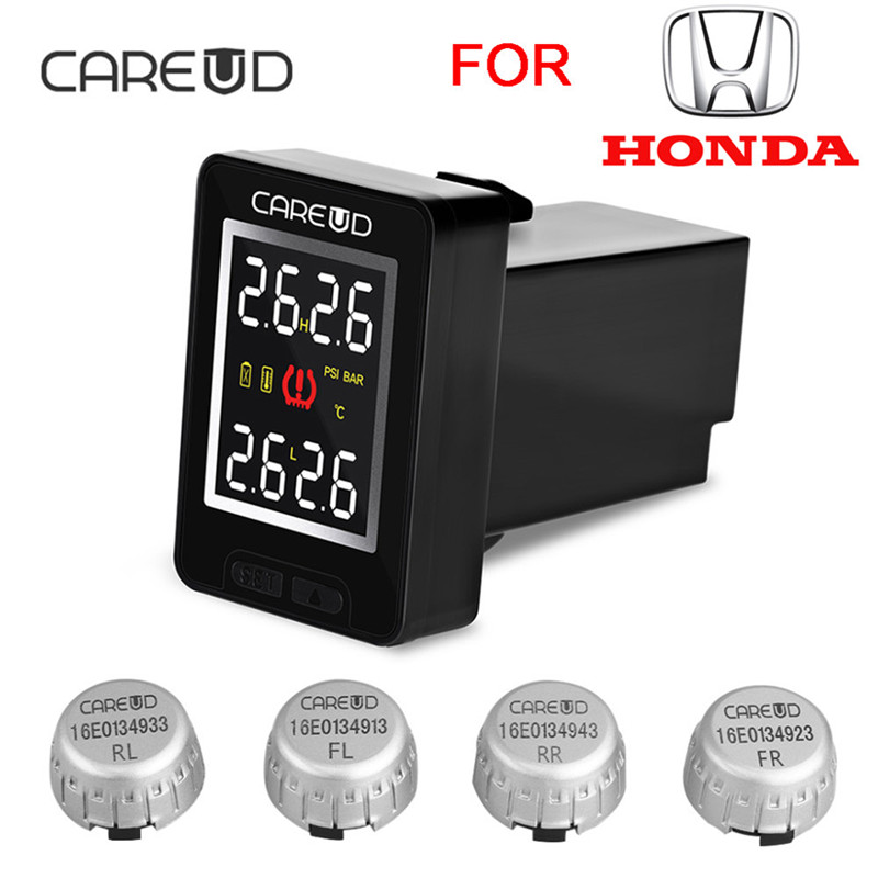 CAREUD U912 Car Wireless TPMS Tire Pressure Monitoring System with 4 External Sensors LCD Display Embedded Monitor For Honda careud u912 tpms car tire pressure wireless monitoring system 4 external sensors and lcd display embedded monitor for toyota