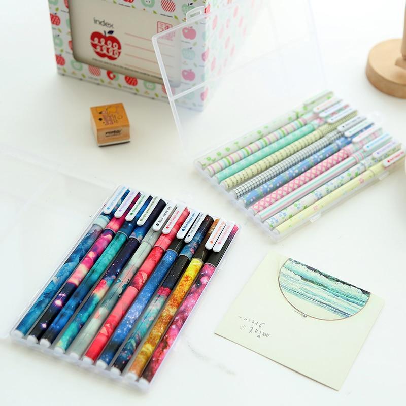 10 pçs cor gel canetas conjunto caixa dos desenhos animados bonito animal estrela doce caneta papelaria escritório material escolar canetas escolar a6308