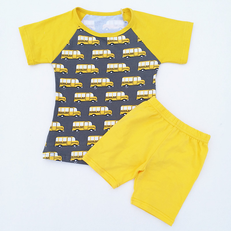 0a0c0a762768 Baby Boy Car to School Outfits Children Back to School Boutique Clothing  Set Boy Cotton Raglan Top With Yellow Short Set