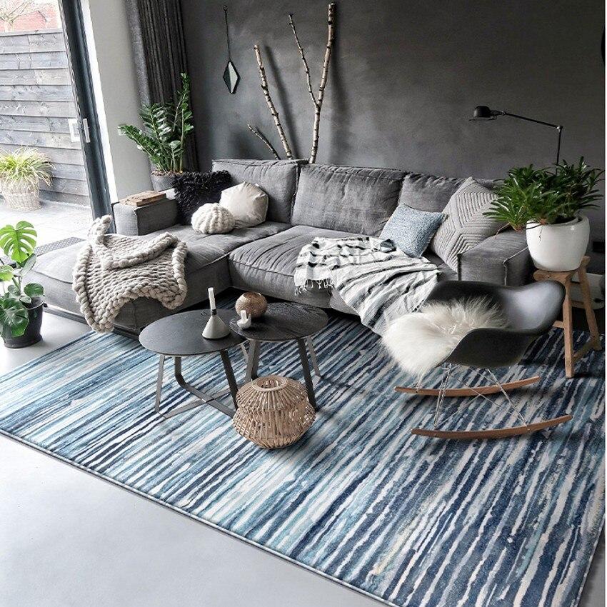 Tapis de salon tissé par machine rayée par ondulation de l'eau mélangée bleue, tapis de villa de grande taille, tapis de plancher de chevet de décoration nordique