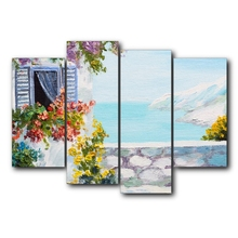 Laeacco Flowers Stone Wall River Canvas Oil Poster And Prints Living Room House Wall Decor Art Painting Home Decoration Picture teak house поднос river stone