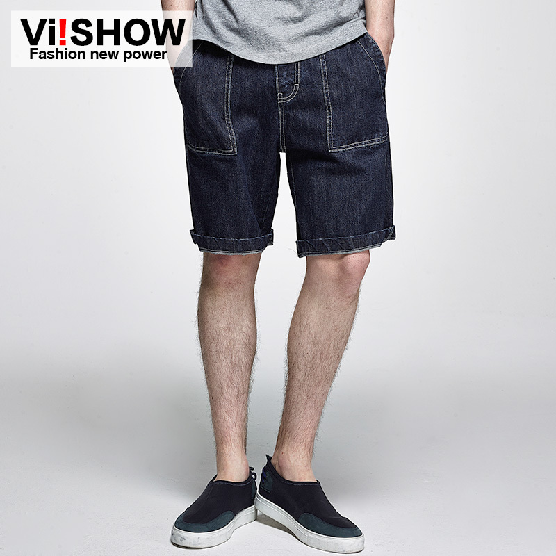 VIISHOW Ripped JEANS PANTS Shorts Multi-Pocket Mens Denim Famous-Brand Straight for 28-37