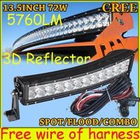 Free DHL UPS Fedex Ship 13 5 72W 5760LM 10 30V 6500K LED Working Bar 3D