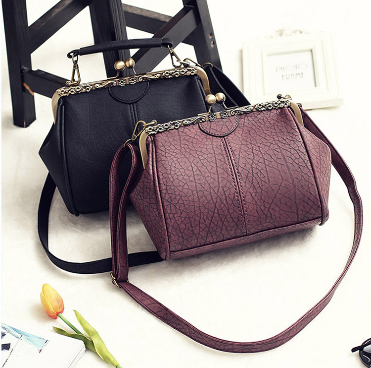 Vintage Handbags Kiss Lock Cross Body Purses Shoulder Messenger Tote Bags for Women PU Leather (3)