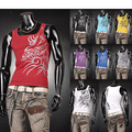 Hot Sale 2016 Men's Casual Tank Top T-Shirts Undershirt Dragon Tattoo Tank Tops Skinny Man Muscle Vest Tee 9 Colors 4 Sizes U001