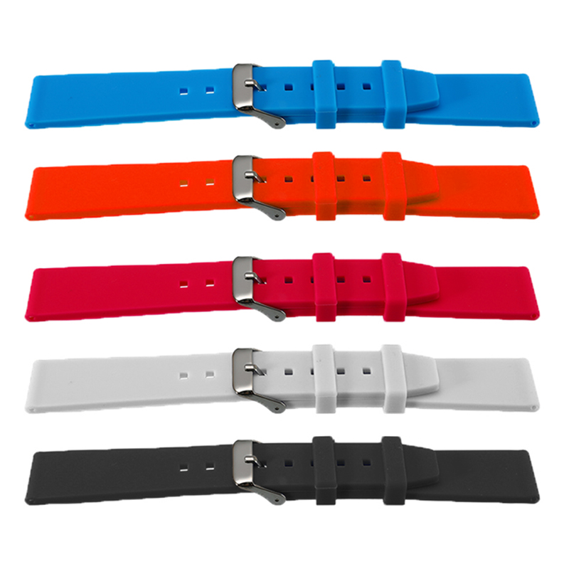 Rubber Silicone Watchband Multi Color Watchbands Watch Strap With Stainless Steel Buckle 16/18/20/22/24/26/28mm