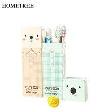 HOMETREE 1 Pcs Portable Student Cartoon Toothbrush Box Plastic Travel Toothpaste Bathroom Accessories Sets H594