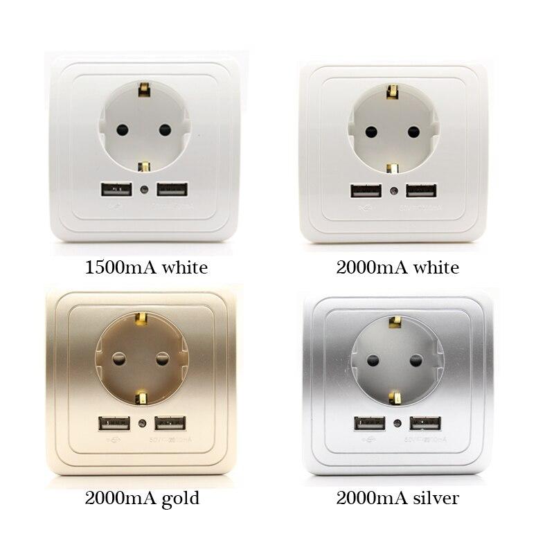 ЕС Стандартный 16a 250 В Dual USB Порты и разъёмы 1500MA/2000mA стены Зарядное устройство адаптер ЕС розетка USB с USB мощность Outlet Панель