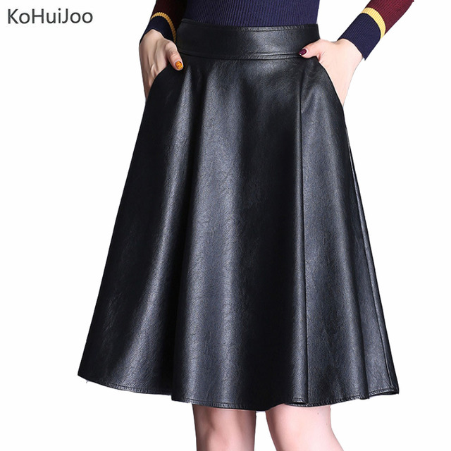 4f806697d35c4 KoHuiJoo 3xl 4xl 5xl Spring Autumn Women Pu Leather Skirt Plus Size High  Waist A line Casual Faux Leather Skirts Knee Length