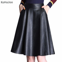 KoHuiJoo 3xl 4xl 5xl Spring Autumn Women Pu Leather Skirt Plus Size High Waist A line Casual Faux Leather Skirts Knee Length