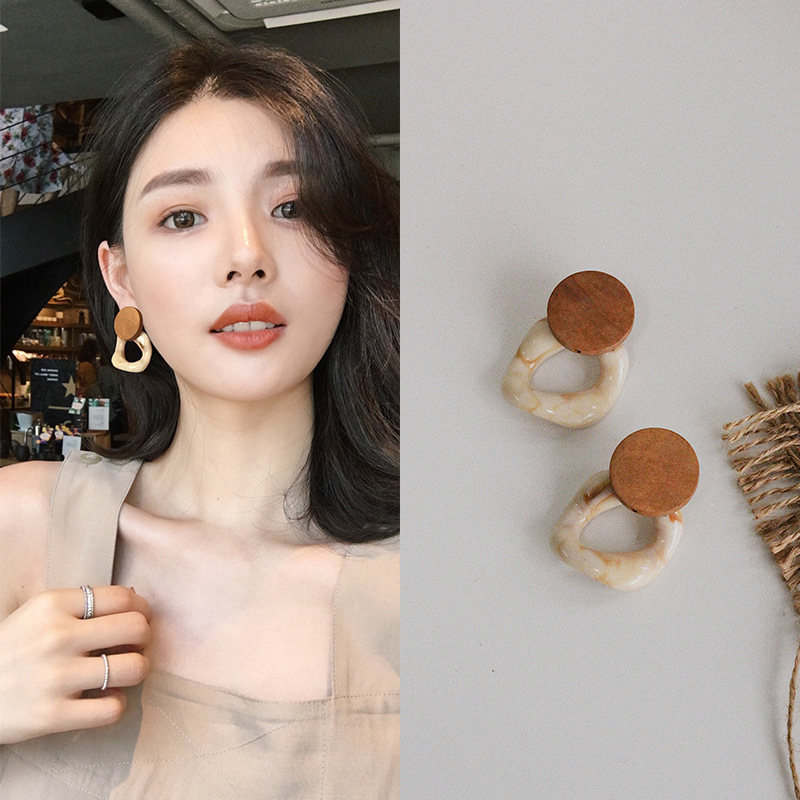 2019 Fashion Big Resin Drop Earrings For Women Acetic Acid Large Korea Square Earrings Trendy Wood Geometric Jewelry Wholesale