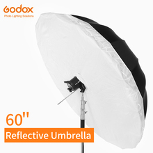 Parapluie réfléchissant noir argenté Godox 60 pouces 150 cm, éclairage de Studio, parapluie avec grand couvercle de diffuseur