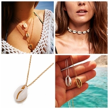 2019 New Vintage Fashion Black Rope Chain Seashell Choker Necklace For Women Summer Beach Gifts Boho Jewelry