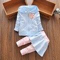2016 новая коллекция весна осень девочки одежда наборы девушки цветок костюм одежда детей пальто детской одежды футболка + брюки