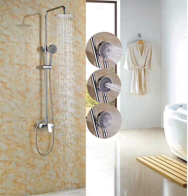 цена на Luxury 8-in Rainfall Shower Set Bathroom Tub Shower Units Single Lever With Handheld