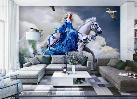 Free Shipping 3D European oil painting white horse queen TV background wall living room sofa room wallpaper mural  free shipping large mural wallpaper villa living room ceiling european oil painting wallpaper
