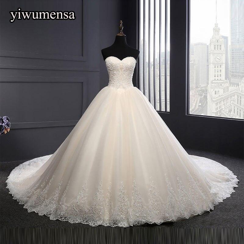 Yiwumensa vestidos de noiva Chérie robes de mariée 2018 Perles Cristaux Mariée robe de mariée à lacets robe robe de mariee