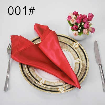 NP003 ราคาถูกที่กำหนดเองหลายสีงานแต่งงาน 40 ซม.* 40 ซม.สีแดง Burgundy สีเขียวสีขาวงาช้างสีฟ้าสีเหลืองสีม่วงผ้าซาตินผ้าเช็ดปาก