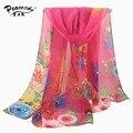 Bufanda femenina primavera y otoño gasa del diseño de seda larga bufanda de las mujeres del verano la protección solar se asomaron delgada toalla de playa del cabo