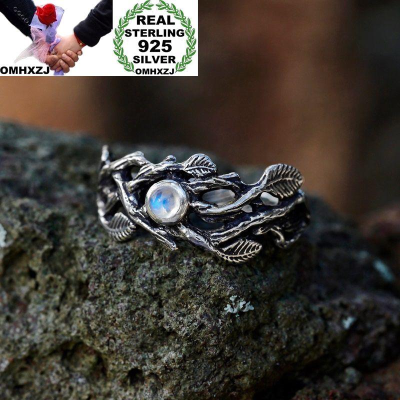 OMHXZJ Wholesale European Fashion Woman Man Party Wedding Gift Silver White Leaves Moonstone Taiyin Ring RR327
