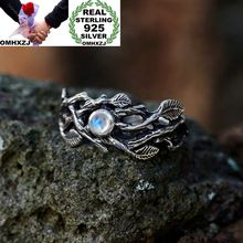 OMHXZJ Wholesale European Fashion Woman Man Party Wedding Gift Silver White Leaves Moonstone Taiyin Ring RR327