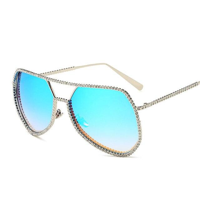 Mulheres de Diamante Colorido Óculos De Sol Femininos Superdimensionada Óculos  de Sol Rosa de Carter Marca 2cd51e5eb9