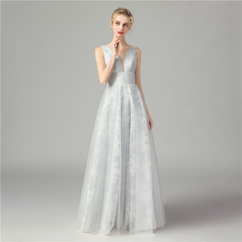 Elegant 2019 Grey Lace Tulle   Prom     Dresses   Sexy V neck Pleated Floor Length Evening Gown Sleeveless Illusion Formal Party   Dresses