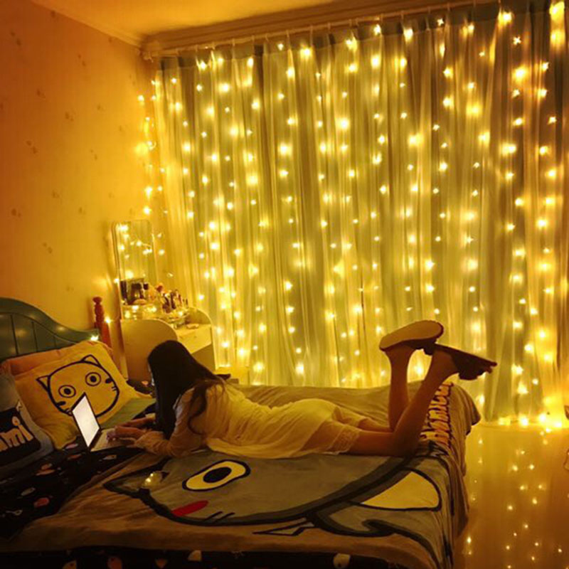 String Lights In Bedroom: 3X3M LED Window Curtain String Lights 300 LED Christmas