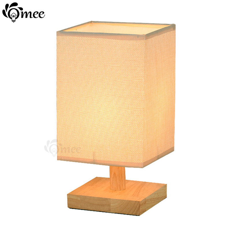 Lights & Lighting New Modern Minimalist Desk Lamp Wood Square Fabric Table Lights Plug Bedroom Bedside E27 Lamp Indoor Living Room Night Light Nourishing Blood And Adjusting Spirit
