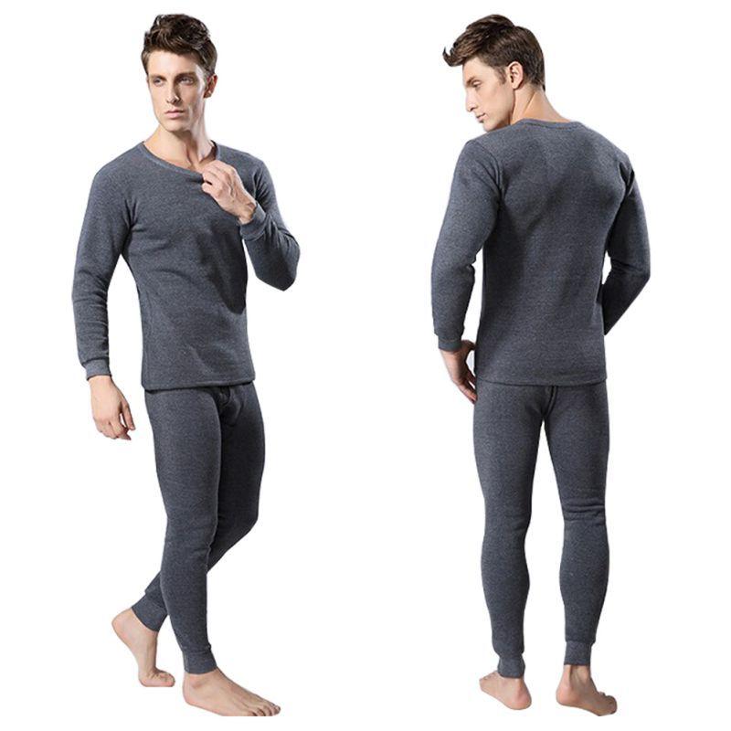 Men 2Pcs Cotton Thermal Underwear Sets Winter Warm Long Johns Tops ...