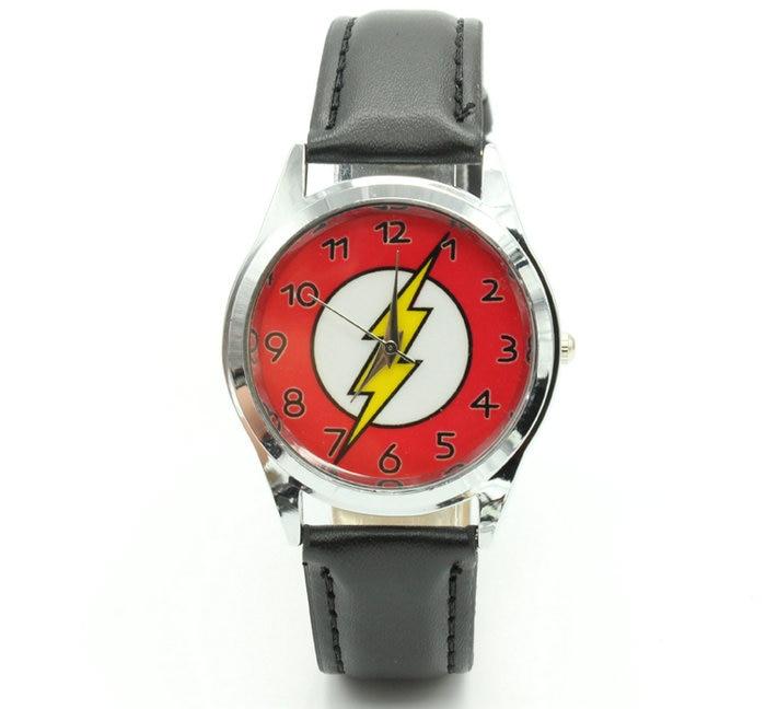 Детские наручные часы DC Universe The Flash Superhero с кожаным ремешком для мальчиков