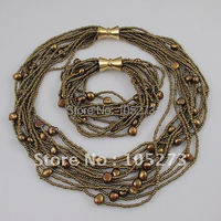 Toptan Zarif inci kolye AA 6-9 MM Kahverengi renk tatlı su inci kolye bilezik 12 satırlar takı seti A1626