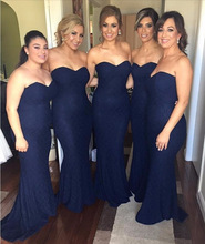 Elegant Navy Blue Mermaid Lace Off The Shoulder Floor Length Bridesmaid Dress With Sweetheart Neckline 2016 New BD63