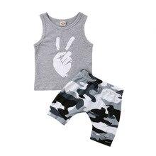 Toddler Kids Camo Clothing Baby Boys Tops T-shirt Short Pants 2Pcs Outfits Set Clothes