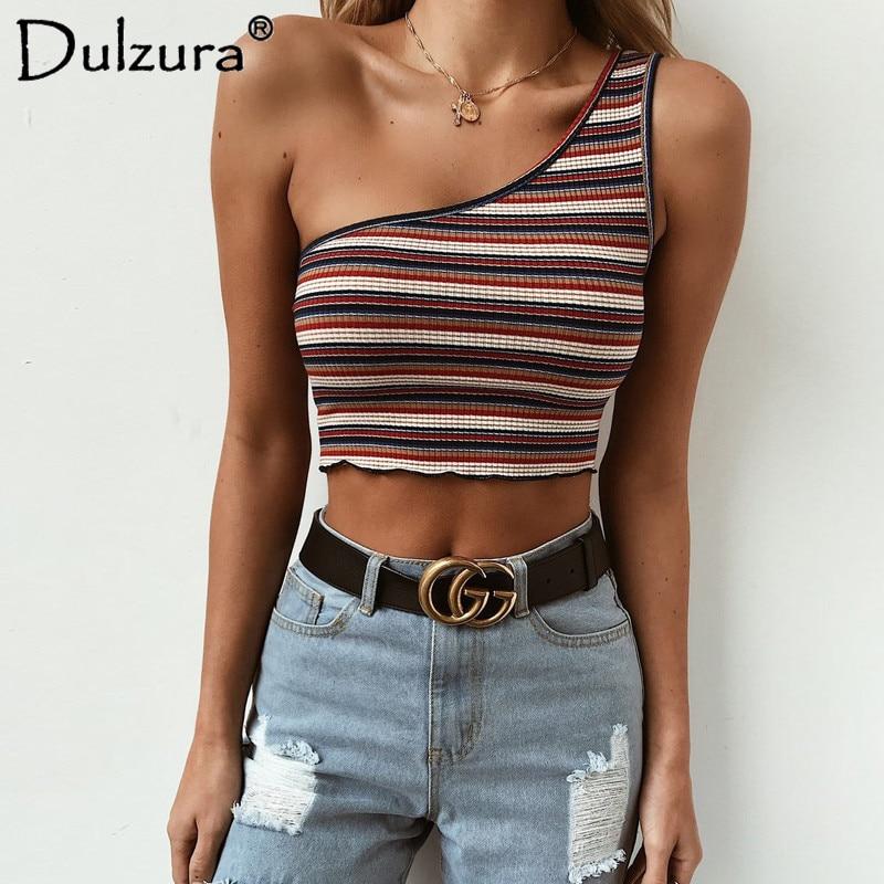 Dulzura one shoulder sleeveless crop tank top 2018 summer women sexy skinny stripe print off the shoulder casual tanks