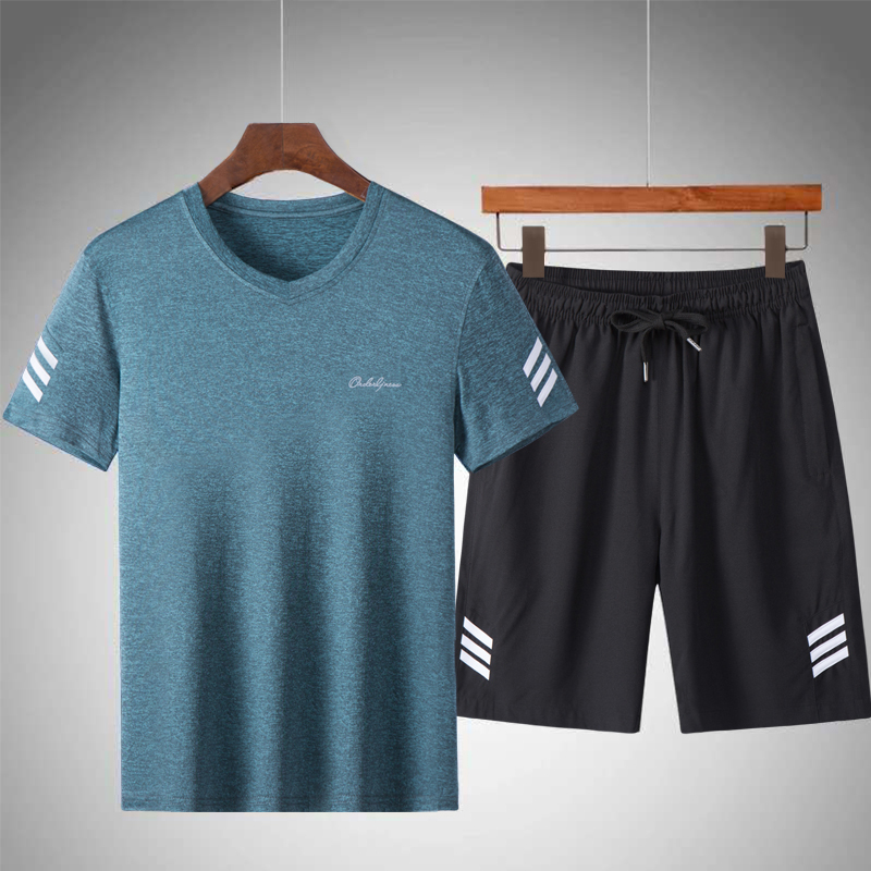 Mens Sportswear Sets Striped Tracksuit 2019 Summer Casual Breathable T-Shirts + Shorts 2PCS Sets Male Solid Loose Sportsuits