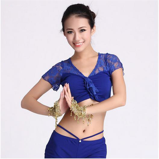 New Arrival Crystal Cotton And Lace Belly Dance Top Momen Lace Short Sleeves Belly Dance Tops 9 Colors Sexy Tops