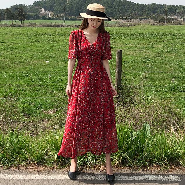 Woman Fashion Korean Style Design Slim Chiffon Floral Print Dress