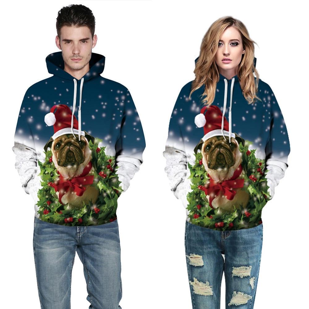 Streetwear Weihnachten Stil Hund Digitale Drucken Mit Kapuze Männer Kleidung Lose Paar Geladen Pullover Männer Plus Größe Pullover Pullover AusgewäHltes Material